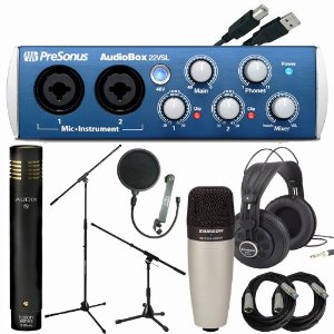Presonus AudioBox 22vsl USB Audio Interface Singer/Songwriter Recording Package